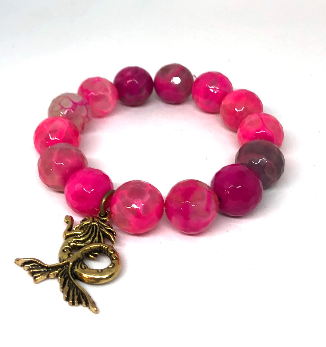 14mm Pink Agate with Brass Mermaid