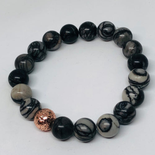 10mm Web Jasper with Rose Gold-Plated Lava Bead
