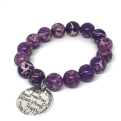 12mm Purple Imperial Jasper with Kind Heart Medal