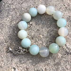 14mm Seafoam Stripe Agate with Silver Mermaid