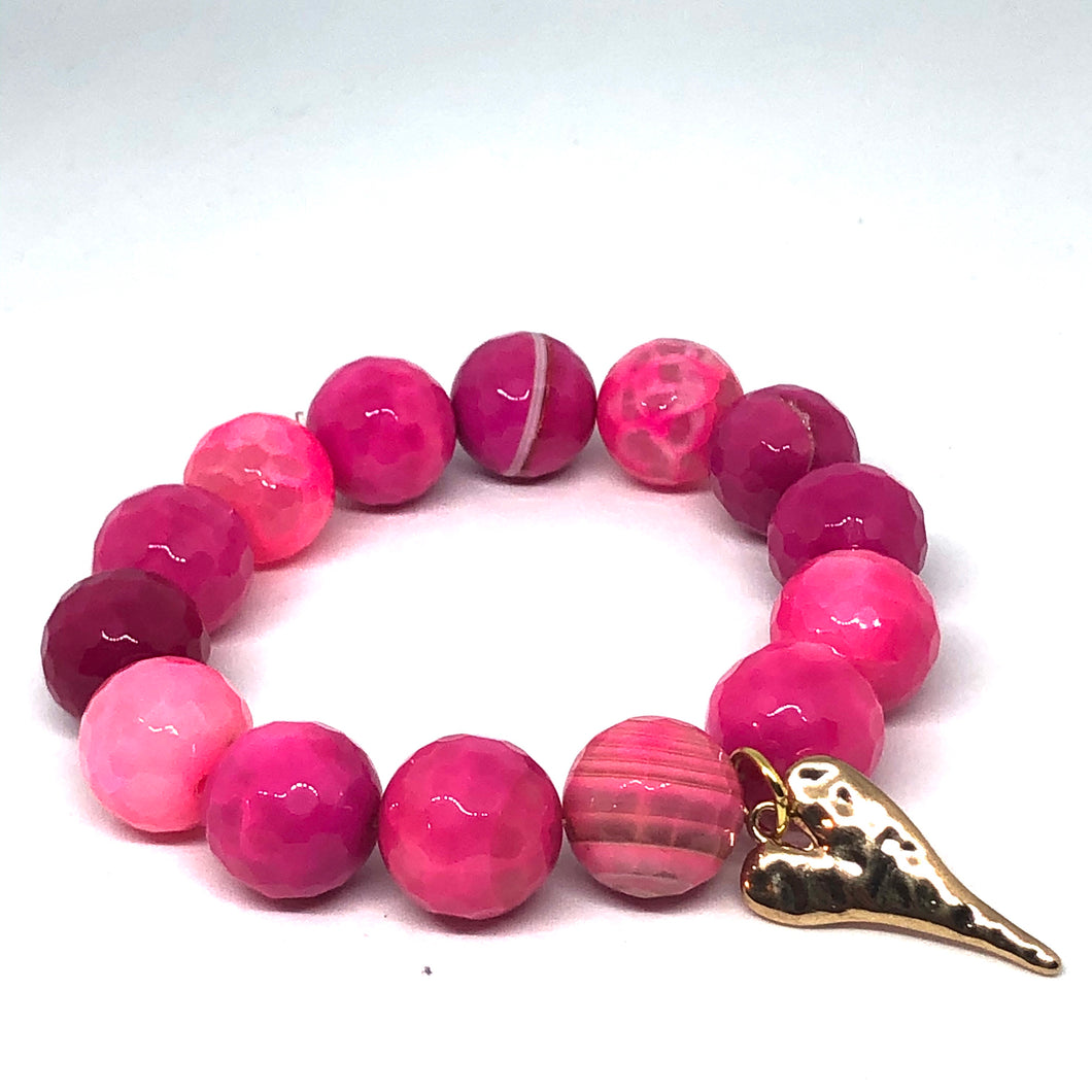 14mm Pink Agate with Golden Hammered Heart