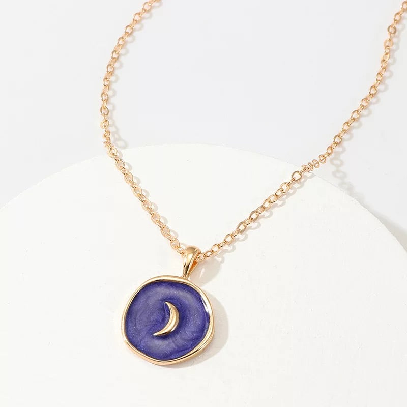 Navy Blue Enamel Crescent Moon Necklace