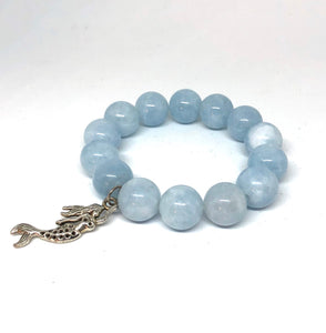 14mm Aquamarine Agate with Silver Mermaid