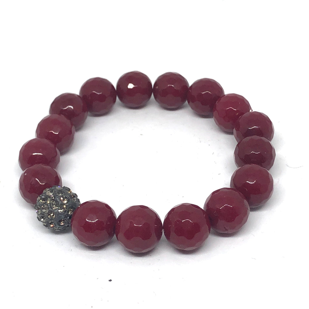 12mm Faceted Ruby Jade with Black Diamond Pave