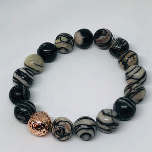 12mm Web Jasper with Rose Gold-Plated Lava Bead