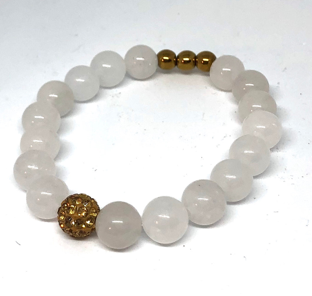 Pale White Agate and Gold Pave Bracelet