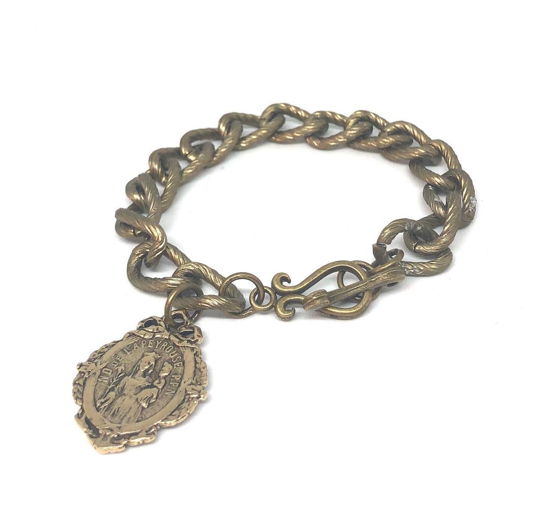 Antique Brass Chain Link Bracelet with Notre Dame of Lapeyrouse Medal