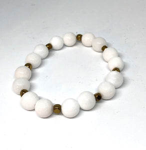 White Jade and Gold Accent Layering Bracelet