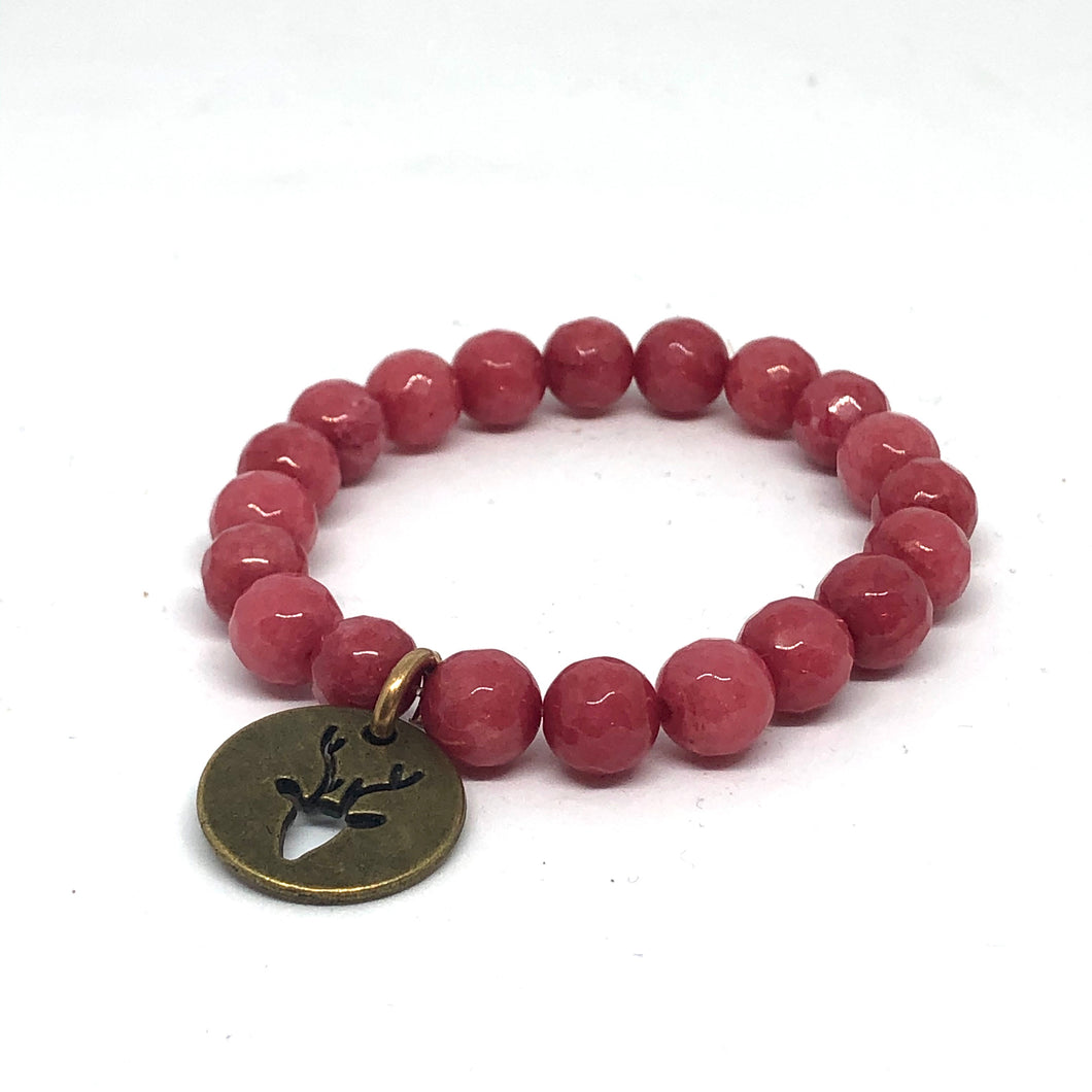 8mm Cherry Jade with Bronze Reindeer