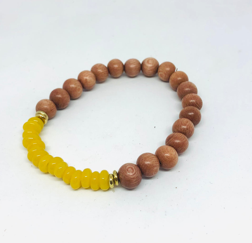 8mm Yellow Java Glass and Rosewood Diffuser Bracelet