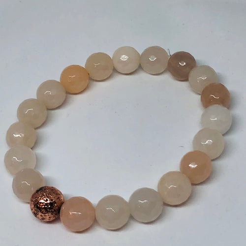 10mm Pink Aventurine with Rose Gold-Plated Lava Bead