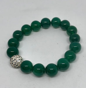 12mm Emerald Green Jade with Pave
