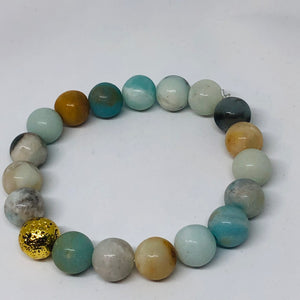 10mm Amazonite with Gold-Plated Lava Bead