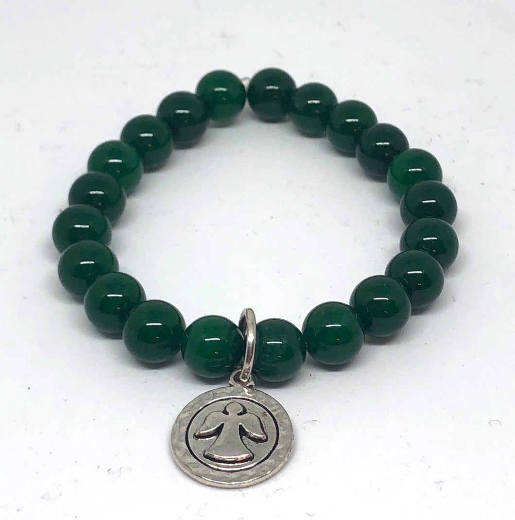 8mm Emerald Jade with Angel