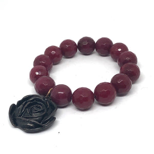 14mm Faceted Ruby Jade with Bronze Rose