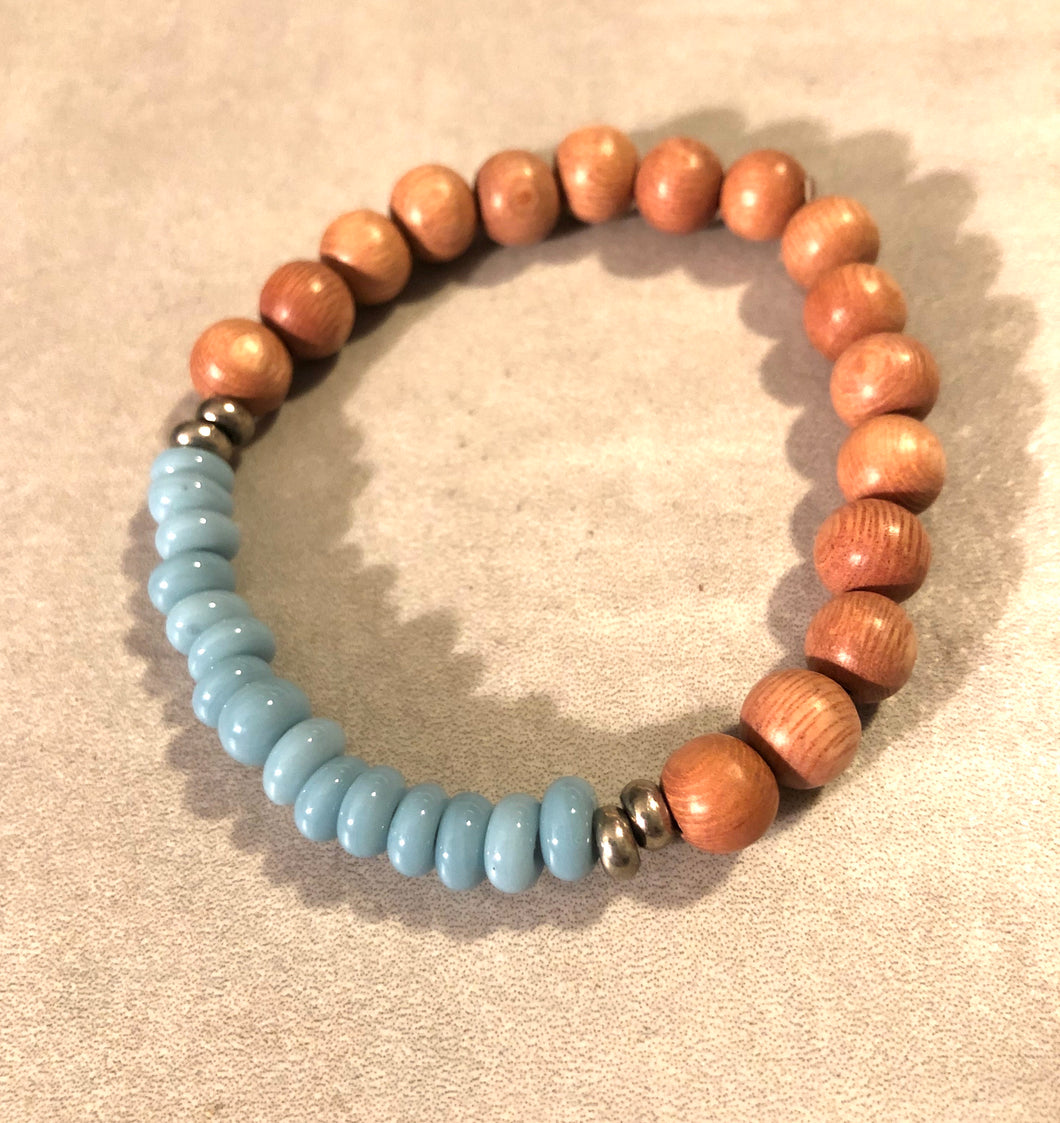 8mm Blue Java Glass and Rosewood Diffuser Bracelet