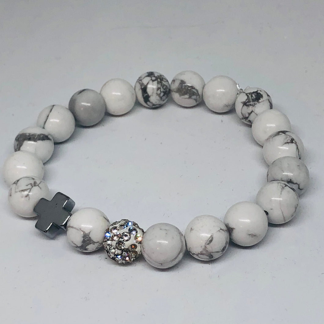 Howlite and Silver Hematite Cross Hope Collection Bracelet