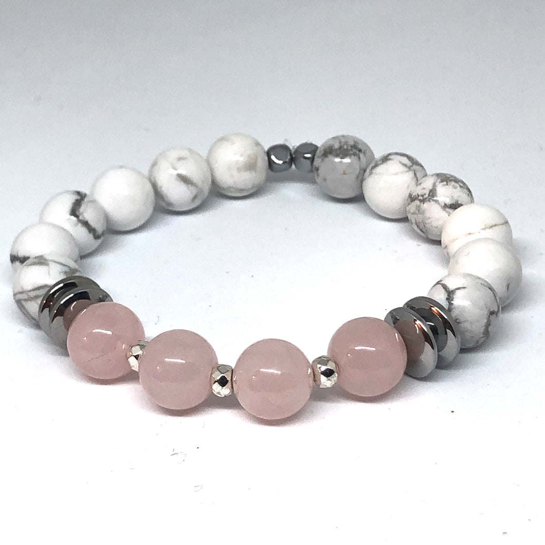Howlite and Rose Quartz Indie Bracelet