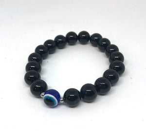 10mm Black Onyx Protection Bracelet (silver)
