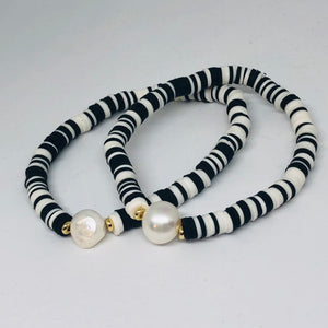 Black and White Clay Heishi Bead with Freshwater Pearl Accent