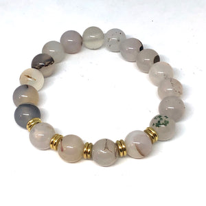 Natural Agate and Gold Accent Layering Bracelet
