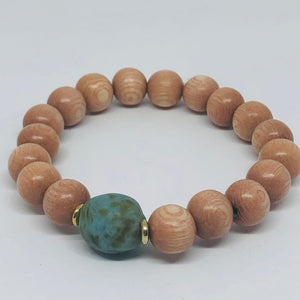 Fused Recycled Glass and Rosewood Diffuser Bracelet