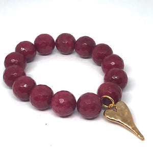 14mm Faceted Ruby Jade with Golden Hammered Heart