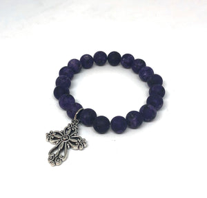 8mm Matte Purple Jade with Silver Cross