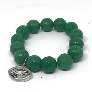 14mm Green Jade with Eagles Medal
