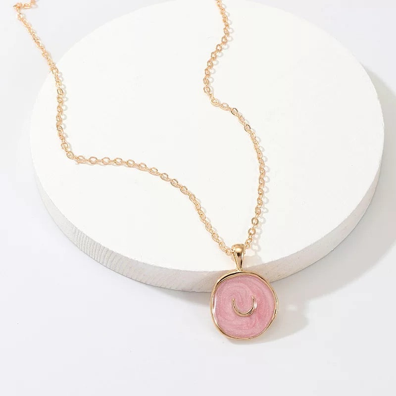 Pink Enamel Crescent Moon Necklace