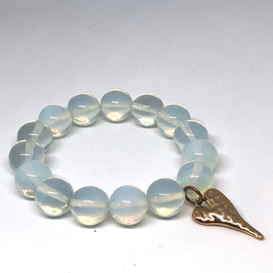 14mm Opalite with Golden Hammered Heart