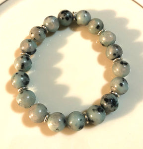 10mm Kiwi Jasper and Silver Accent Layering Bracelet