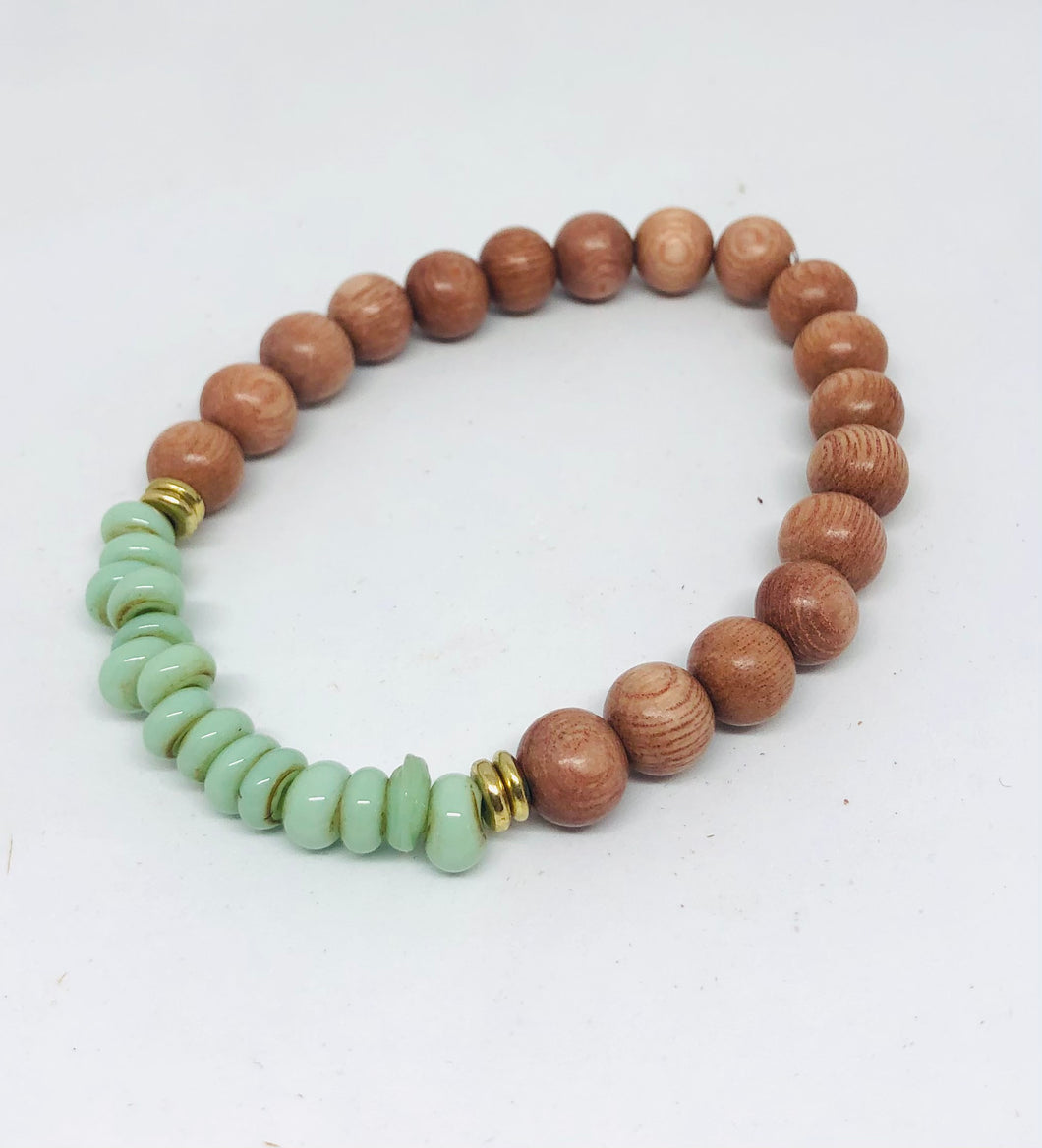8mm Mint Java Glass and Rosewood Diffuser Bracelet