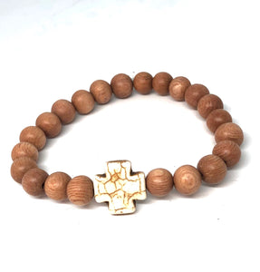 8mm Rosewood and Howlite Hope Cross