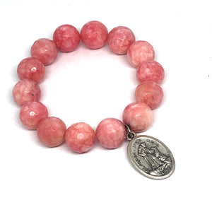 14mm Strawberry Jade with St. Francis Medal