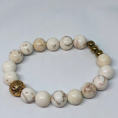 White Turquoise with Rose Gold-Plated Lava Bead
