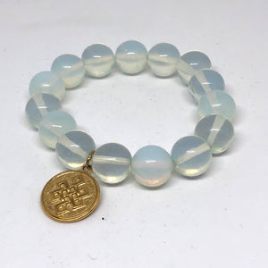 14mm Opalite with Gold Eternal Knot