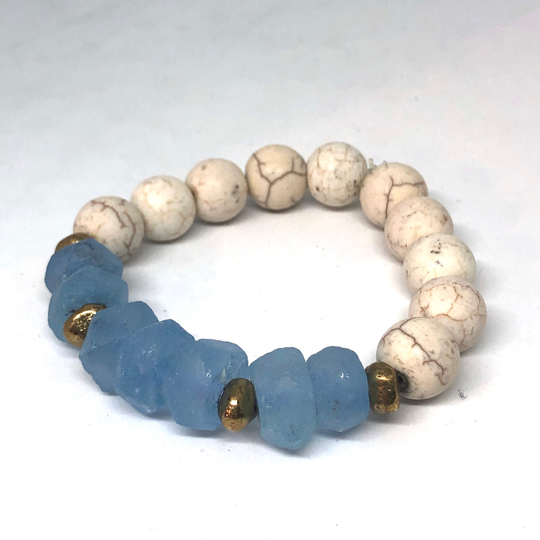 Blue Sea Glass and Howlite with African Brass