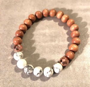 8mm Howlite and Rosewood Diffuser Bracelet