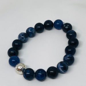 10mm Sodalite with Silver-Plated Lava Bead