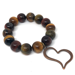 14mm Multi-Color Tiger Eye with Copper Open Heart
