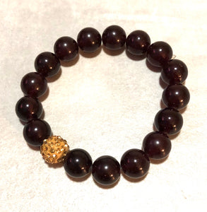 12mm Garnet Jade with Golden Pave