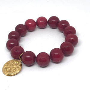 14mm Ruby Jade with Celtic Medal