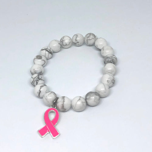 10mm White Howlite with Breast Cancer Awareness Ribbon Medal