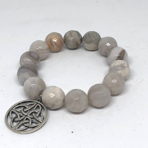 14mm Faceted White Crazy Lace Agate with Irish Quatrafoil