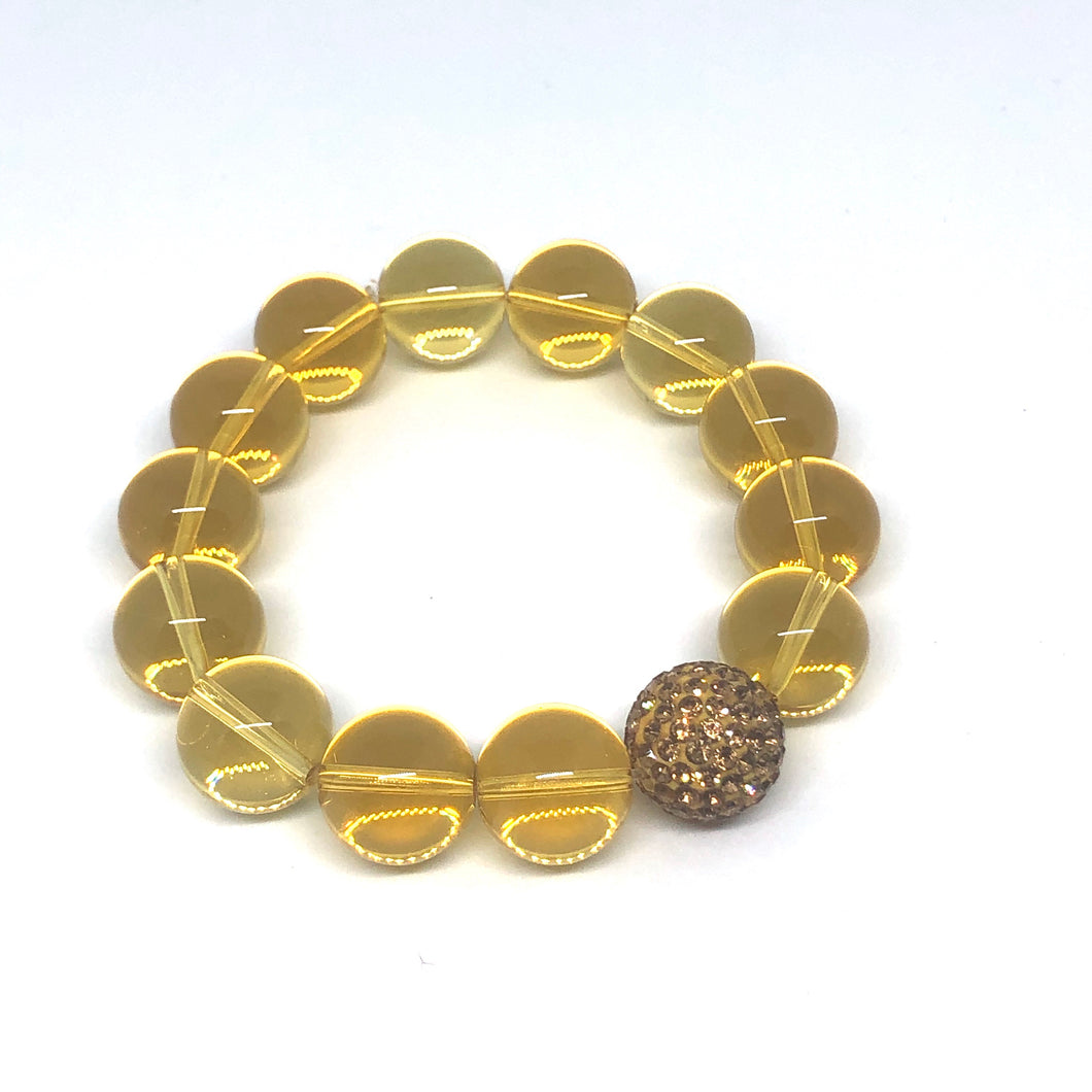14mm Topaz Quartz with Golden Pave Accent