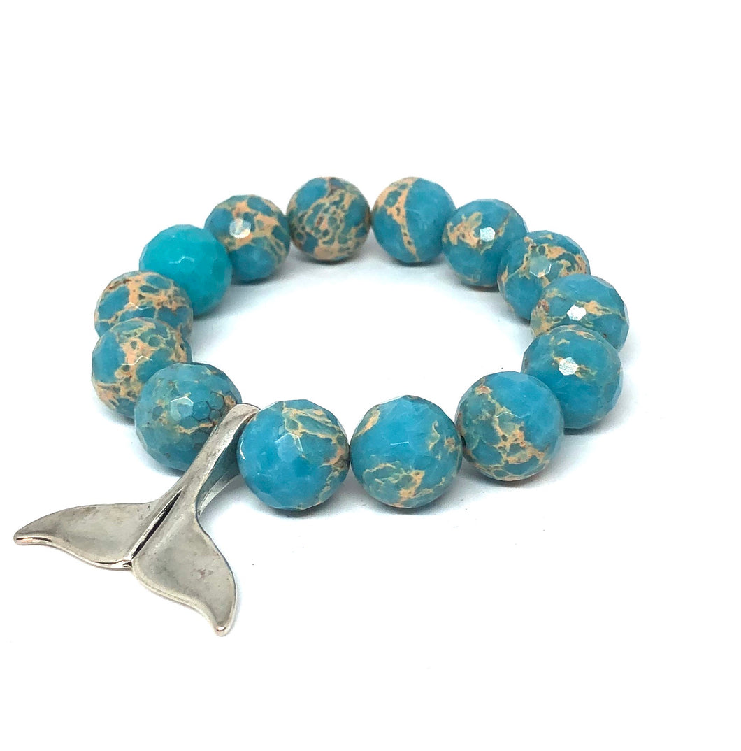 14mm Aqua Sediment Jasper with Whale Tail