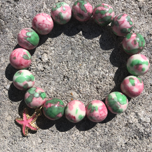 12mm Pink & Green Watercolor Jade with Starfish