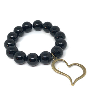 14mm Black Onyx with Bronze Open Heart