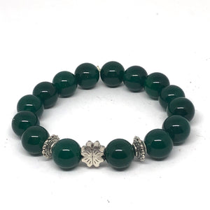 12mm Green Agate with silver shamrock